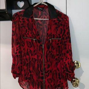 BeBe— Red cheetah shirt ❤️